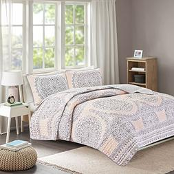 Girls Queen Quilt/Coverlet Set - 3 Pieces - Blush/Pastel Pin