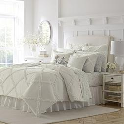 Laura Ashley Adelina Ruffle Duvet Cover Set, Full/Queen, Whi