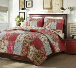 Adeline Patchwork Reversible Cotton Quilt Set, Bedspread, Co
