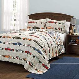 3 Piece Adorable Blue Red Yellow Grey White Full Queen Quilt