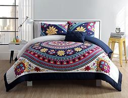 VCNY Home Ahimsa Bright Bohemian Style Comforter Set, Twin X