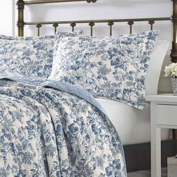 LAURA ASHLEY Aimee Blue & White Floral Toile Cotton 3pc Full