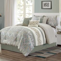 alberta 7 piece medallion paisley embroidered comforter