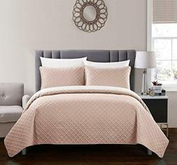 Chic Home Amandla Quilt Cover Set, Queen, Coral