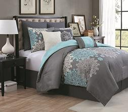 Geneva Home Fashion 9pc Amber Comforter Set Queen Aqua, New