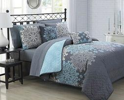 Alcove Amber Quilt Set 5 Piece Gray Blue Full/Queen Bed Bedd