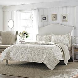 Laura Ashley Amberley Bisquit Reversible Quilt Set, Twin