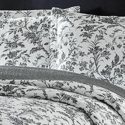 LAURA ASHLEY Amberley Black & White Floral Toile Cotton 3pc