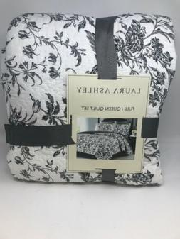 LAURA ASHLEY Amberley Black /White Floral Toile Full/Queen C