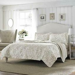 Laura Ashley Amberley Reversible Quilt Set, Full/Queen, Bisq