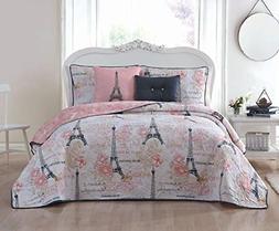 Avondale Manor Amour 5-Piece Quilt Set, King, Pink
