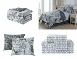 Avondale Manor Amour 8-Piece Comforter Set, Queen, Black/Whi