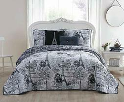 Avondale Manor Amour 5-Piece Quilt Set, Queen, Black/White