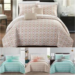 Chic Home Anat 5 Piece Reversible Quilt Set Fluer De Lis Pat