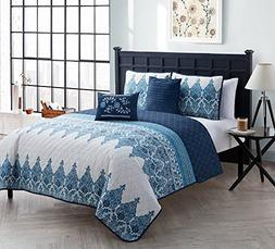 VCNY Home Full/Queen Size Quilt Set in Indigo Blue Tropical