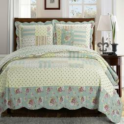 annabel luxury quilted coverlets 3 piece floral