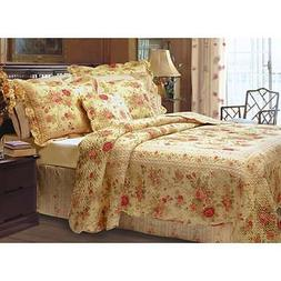 Greenland Home Fashions Antique Rose 3-piece Quilt Set Yello
