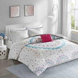 Comfort Spaces Ari Comforter Set - 3 Piece - White/Pink/Teal