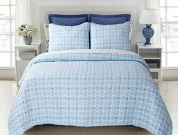 Aria Blue Reversible Cotton Quilt Set, Bedspreads, Coverlet