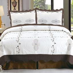 Bedford Home Athena Embroidered 3-Piece Quilt Set, King