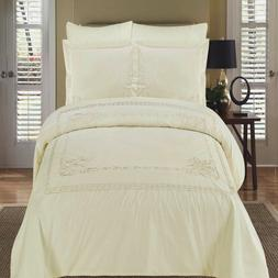 Athena Ivory Embroidered California King Size Duvet cover Se