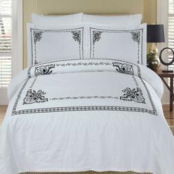 Athena White and Black 4-Piece 100% Cotton Embroidered Duvet