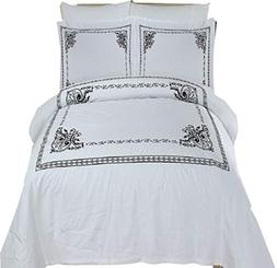 athena white black embroidered king