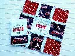 Atlanta Braves Baby Gift Set, Mini Rag Quilt & Embroidered B