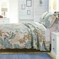 Barefoot Bungalow Atlantis Seashells Quilt & Pillow Sham Set