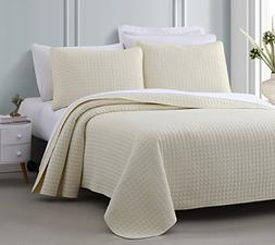 Attitude 3pc Quilted Coverlet Set Ivory King/Cal-King Size