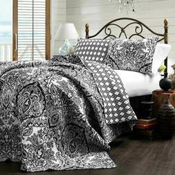 LUSH DECOR Aubree Black & White Paisley Reverses Cotton  Ful