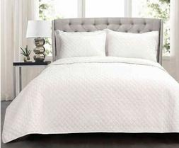 Lush Decor Ava Diamond Oversized 3 Piece Cotton Quilt Set -