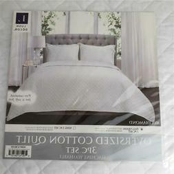 Lush Decor Ava Diamond Oversized Cotton Quilt 3 PC Set Ivory