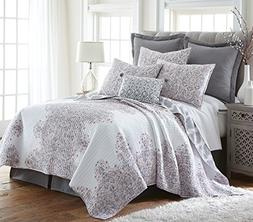 Levtex Avalon Blush King Cotton Quilt Set, White/Grey/Blush,