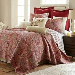 avery king reversible quilt set in red