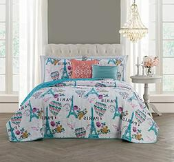 Avondale Manor Darcy 5-Piece Quilt Set, Queen, Blue