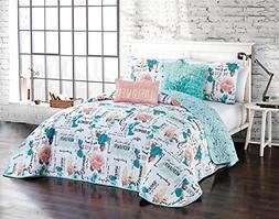 Avondale Manor Flora 5-Piece Quilt Set, Queen, Aqua