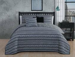 Avondale Manor Meridian 5-piece Quilt Set -Black, King