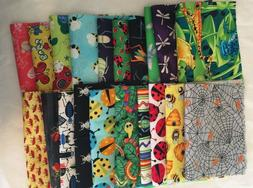 """Awesome BUG JAR Quilt Fabric Set B 20 6""""x9"""" bugs pieces spid"""