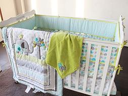 New Baby Safari Elephant 4pcs Crib Bedding Set ,1) quilt,1)s