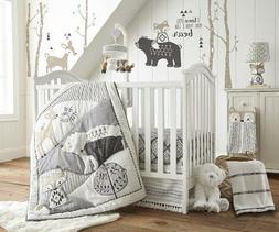 Levtex Baby Bailey Charcoal & White Woodland Themed 5 Piece