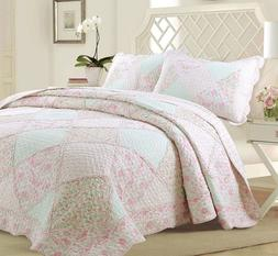 Banner Pink Floral Lace Real Patchwork 100%Cotton Quilt Set,
