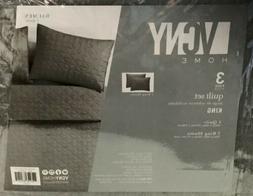 VCNY Home Baumen Diamond Heather Quilt Set - Gray 3 Piece Ki