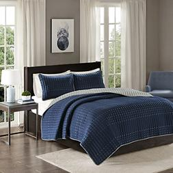 Comfort Spaces Reversible Full/Queen Quilt Set Navy Blue and