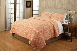 Be-You-tiful Home CC813KSET Penelope Quilt Set Orange, King