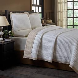 Be-You-tiful Home Taupe Britten King Quilt Set, 3 Piece
