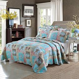 mixinni Beach Theme 3-Piece Cotton King Quilt Set With Blue