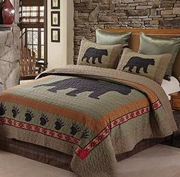 Bear and Paw Quilt & Sham Set + Matching Quilt Throw