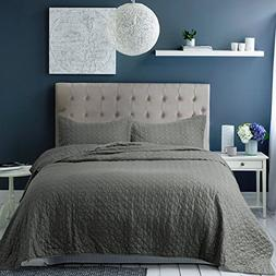 Bedsure Bedding Quilt Set Queen/Full size Grey 86x96 Quatref