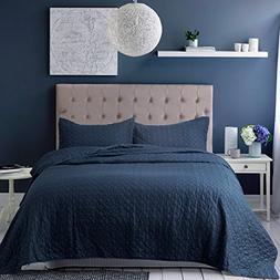 Bedsure Bedding Quilt Set Queen/Full size Navy Blue 86x96 Qu